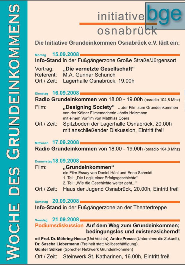 Die Initiative Grundeinkommen Osnabrück e.V. lädt ein