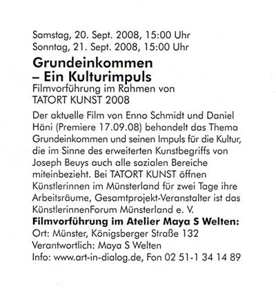 """Filmvorführung: """"Grundeinkommen - Ein Kulturimpuls"""""""